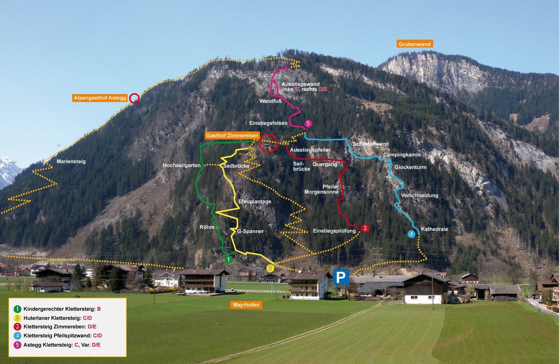 Lageplan klettern mayrhofen